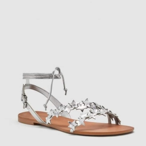 edf1b5157 Zara Silver Star Leather Ankle Wrap Gladiator. M 5bc62aecbaebf640efd94ad4